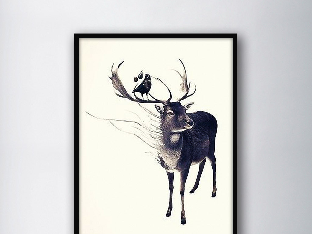 麋鹿小鸟北欧简约手绘水彩现代家居装饰画