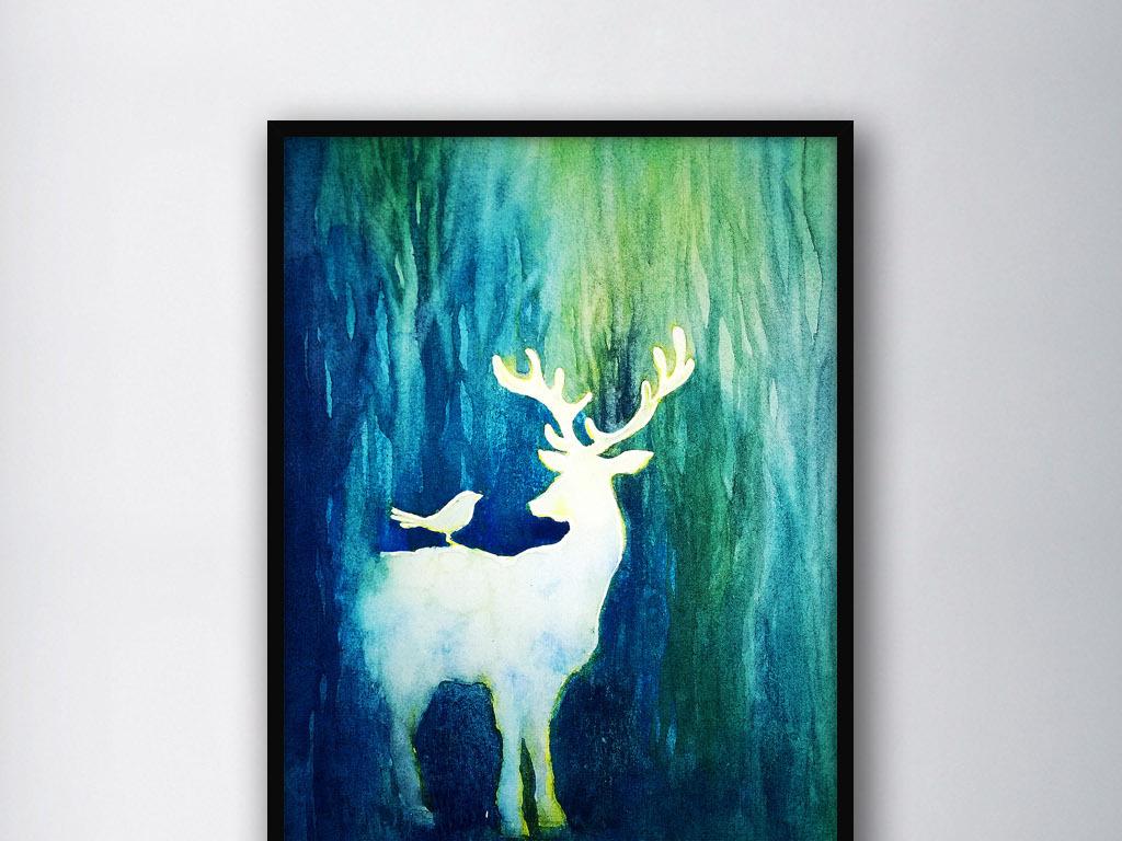 手绘麋鹿麋鹿装饰画手绘水彩手绘装饰画时尚美女时尚