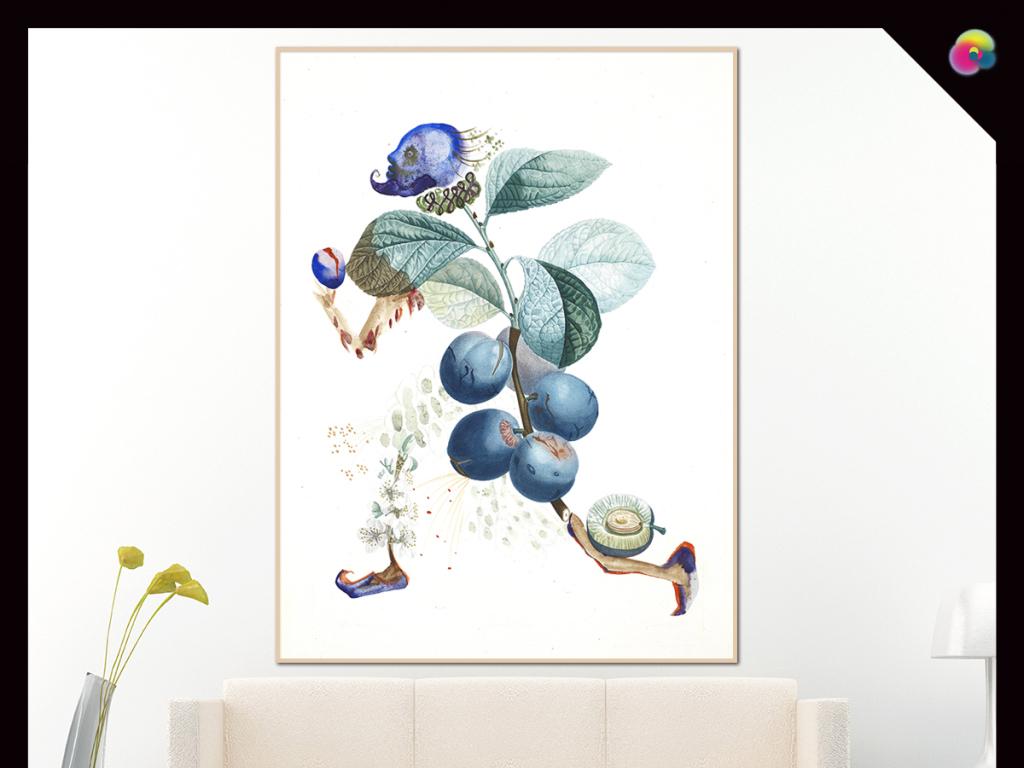 手绘北欧现代简约植物花卉水彩插画无框画