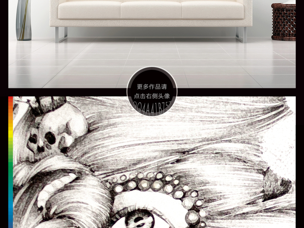 高清欧式创意手绘素描美女鲜花玄关
