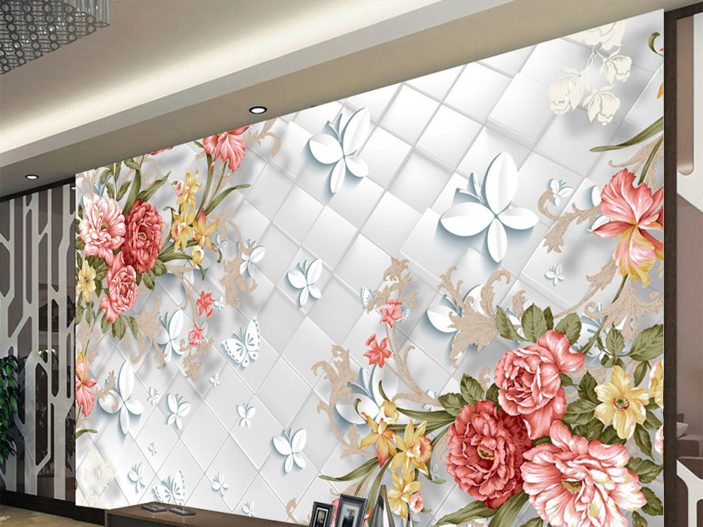 3d方块手绘牡丹花电视背景墙