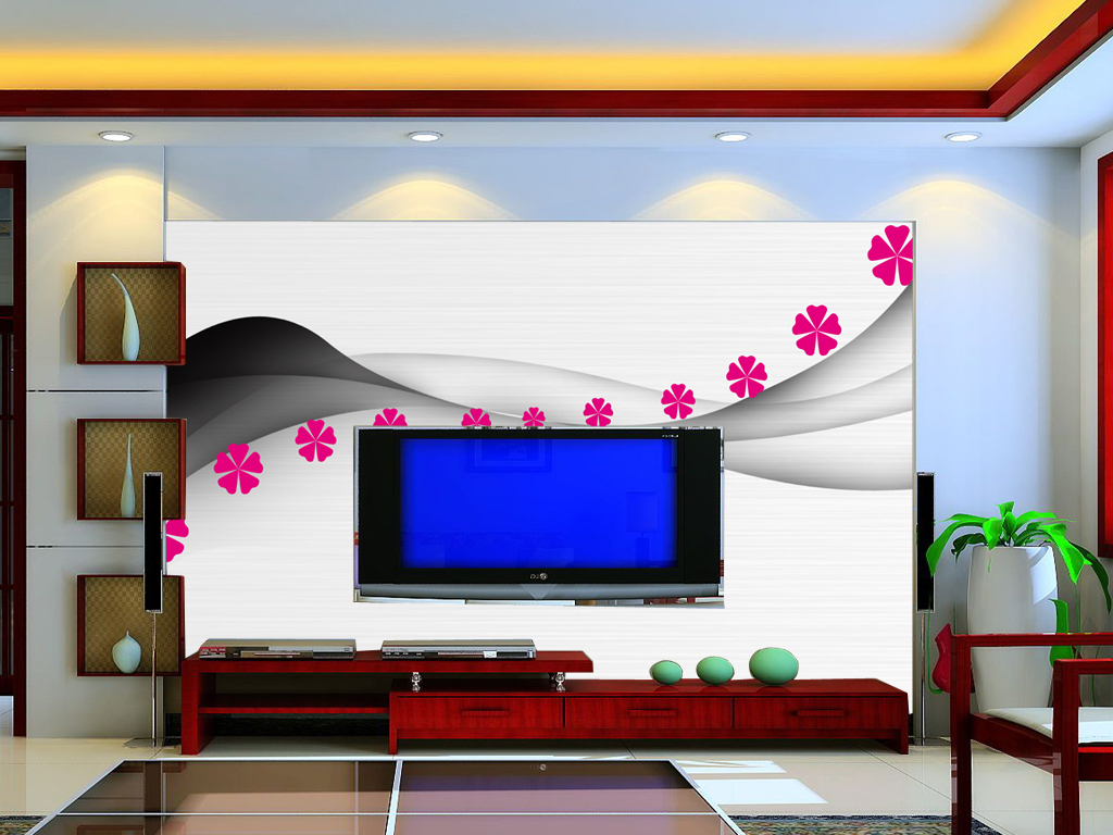 时尚简约线条花朵背景墙