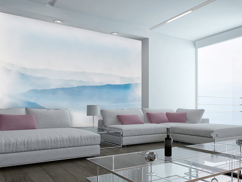 新中式水墨云雾蓝色山水画电视沙发背景墙图片
