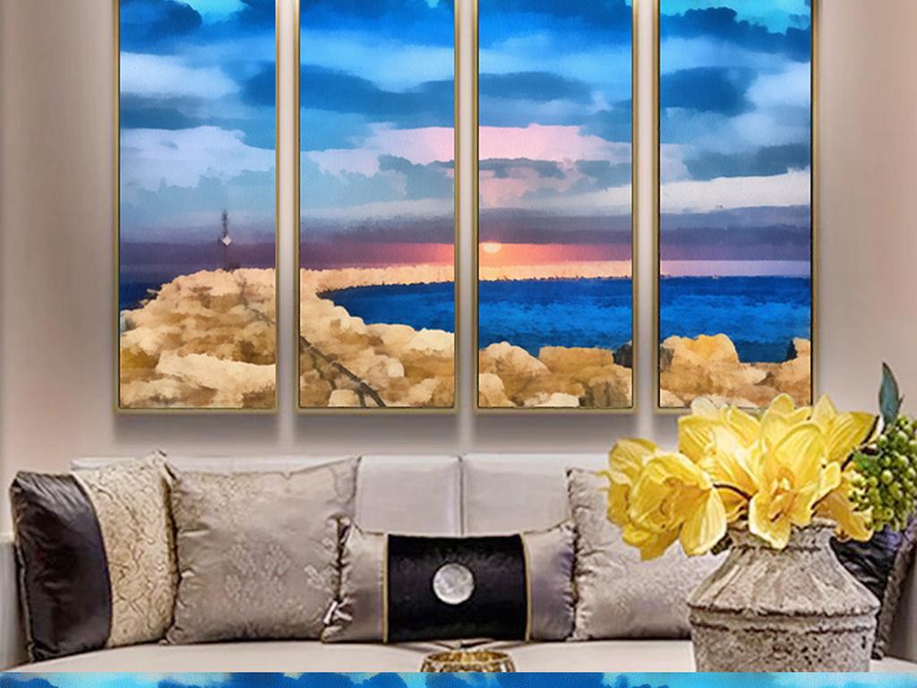欧式抽象蓝色印象派山水海天空油画