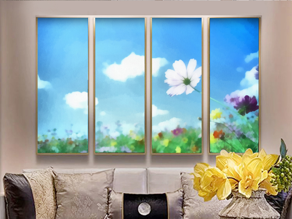 油画手绘清新田园花朵天空背景墙装饰画