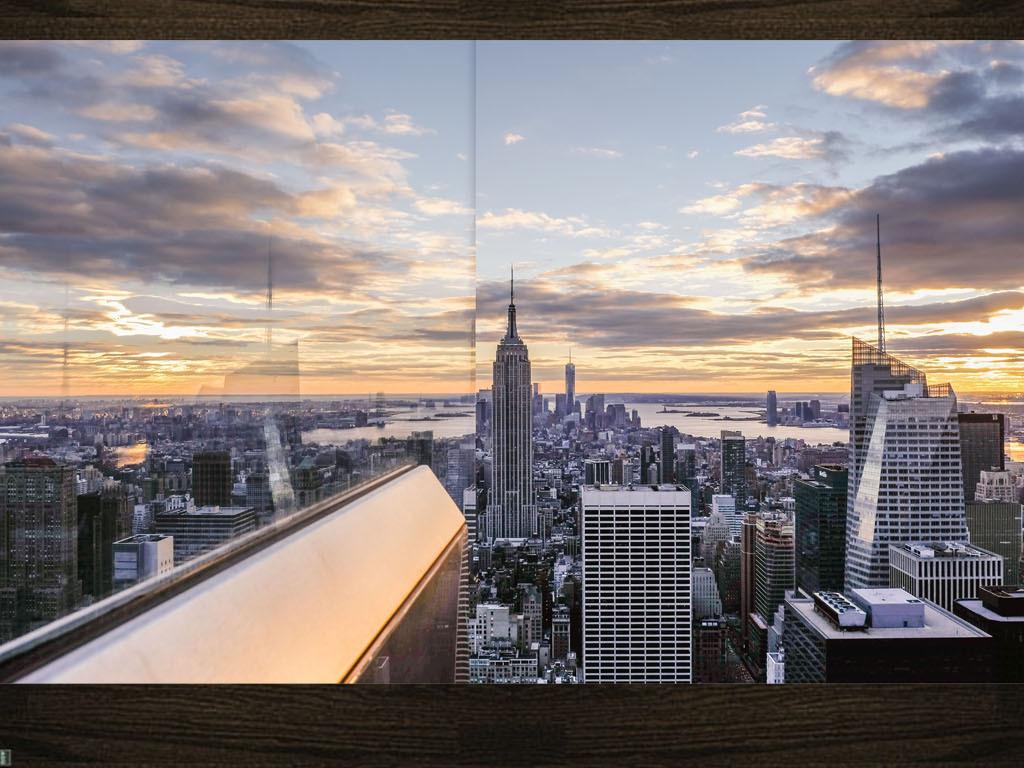 3d立体纽约帝国大厦高楼大厦电视背景墙