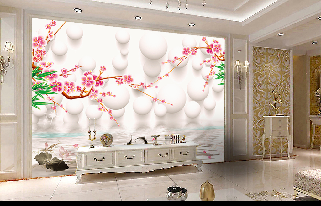 3d新中式梅花电视背景墙图片