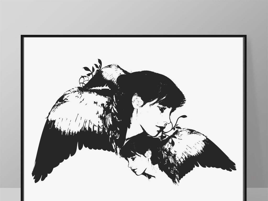 卧室书房酒店抽象黑白北欧画芯图片