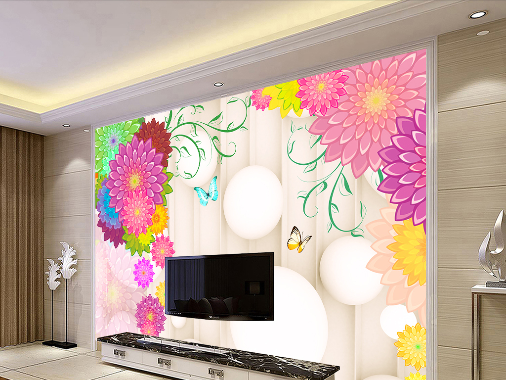 欧式电视背景墙手绘时尚欧式花朵