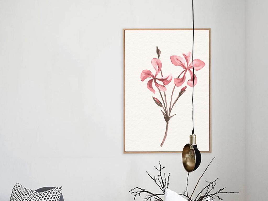 粉色水彩欧式简约无框画装饰画