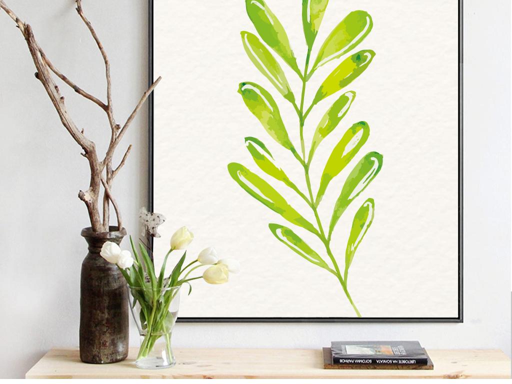 现代简约水彩手绘叶子装饰画无框画