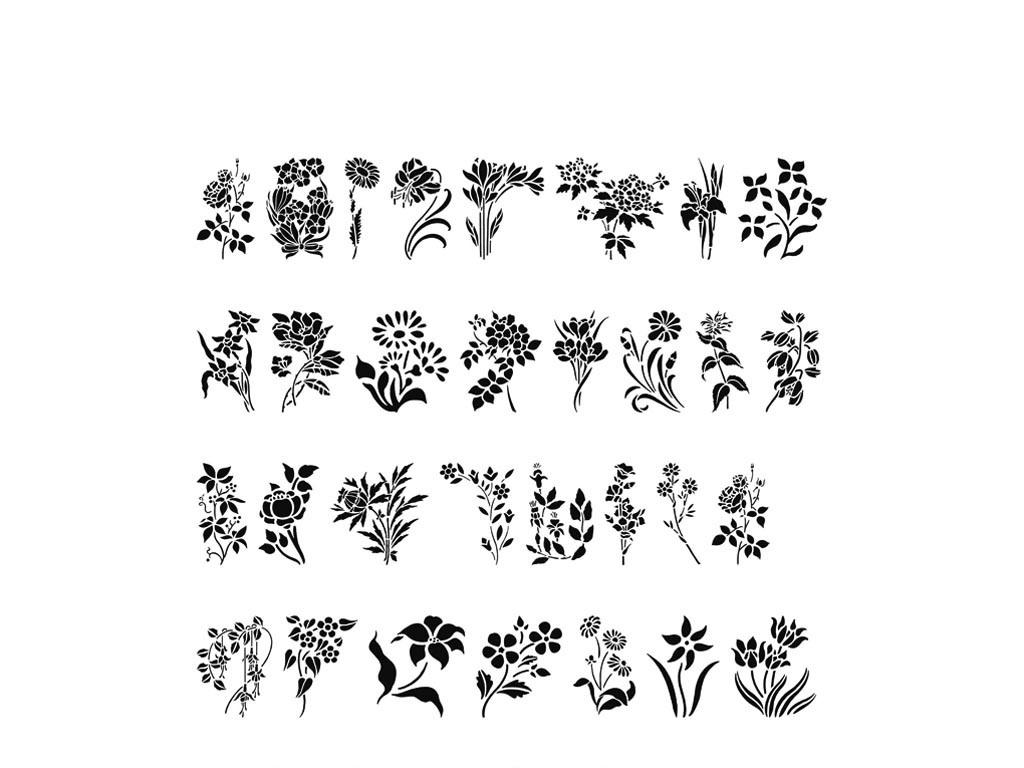 小树小花矢量设计素材花朵