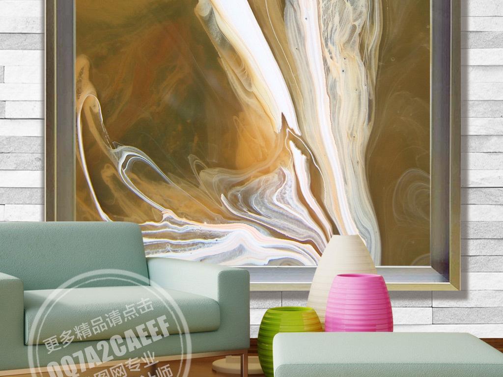 欧式抽象动感大理石纹玄关背景墙壁画