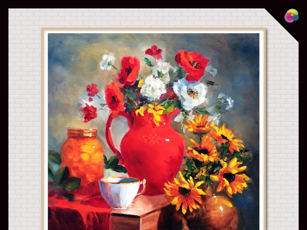 手绘花瓶花卉古典主义油画装饰画无框画