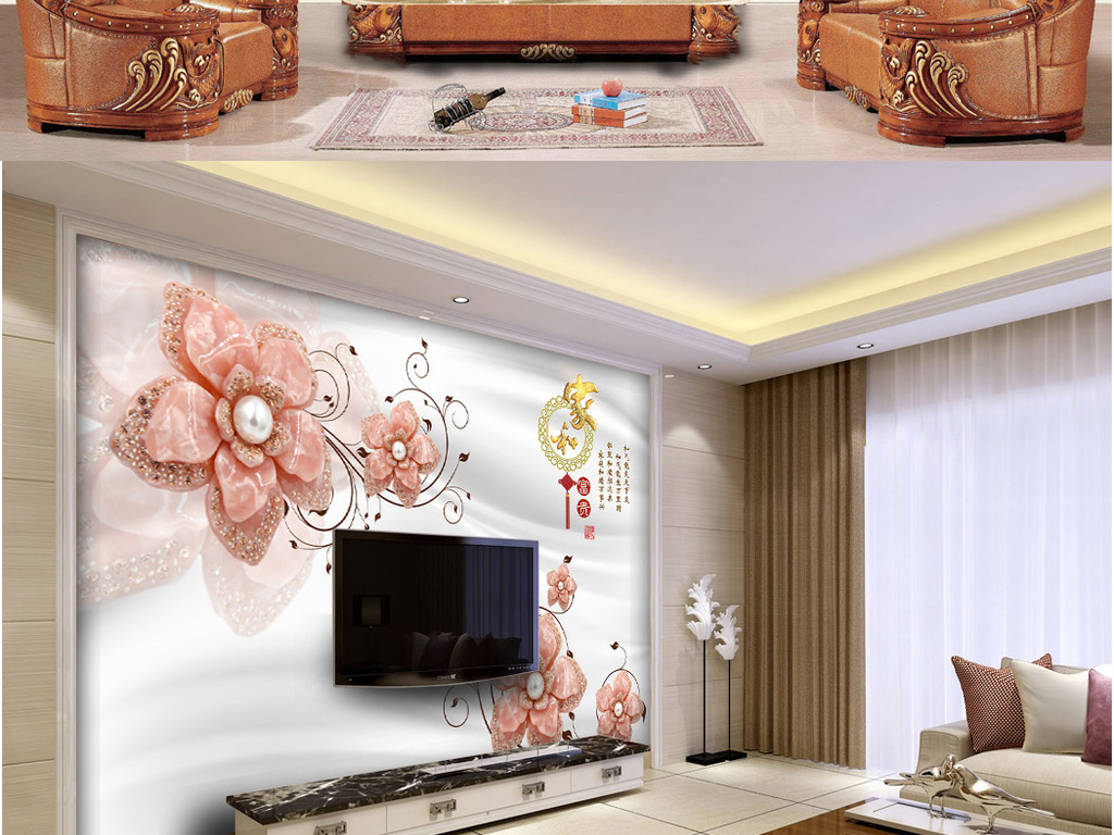 主卧床头背景墙豪华餐厅瓷砖画沙发背景墙贴图挂画装饰画墙纸壁画唯美图片