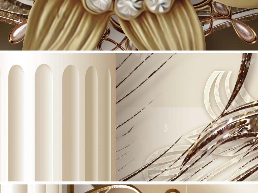豪华欧式花纹罗马柱珠宝客厅电视背景墙