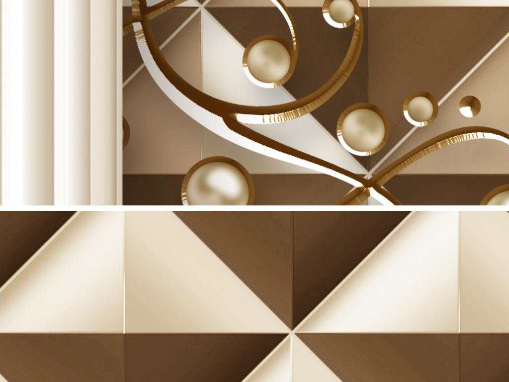 豪华欧式花纹罗马柱珠宝客厅电视背景墙(图片编号:)