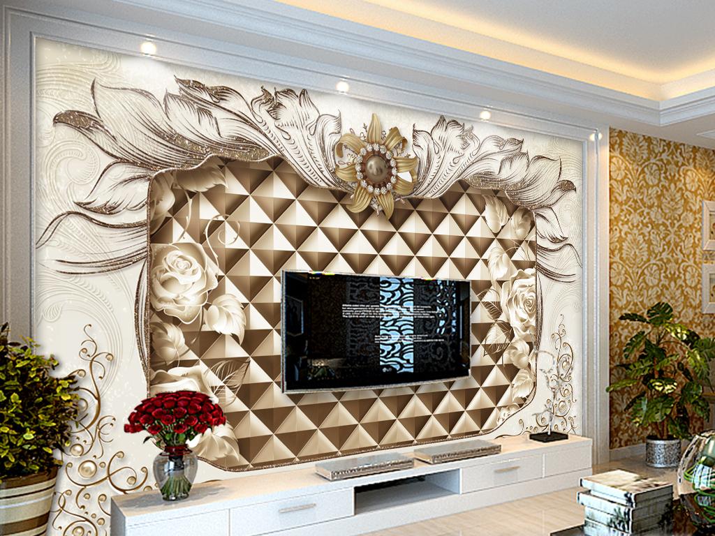 豪华大气欧式花纹珠宝客厅电视背景墙(图片编号:)