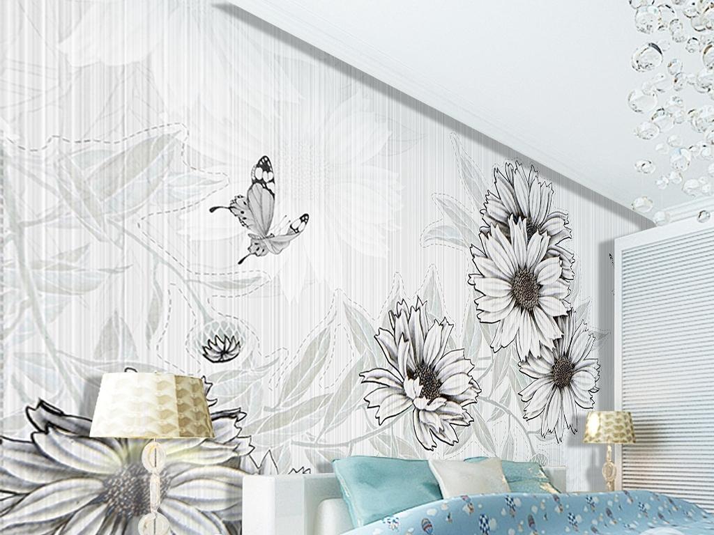 黑白色调简约雏菊手绘背景墙图片手绘电视背景墙背景墙手绘电视背景墙