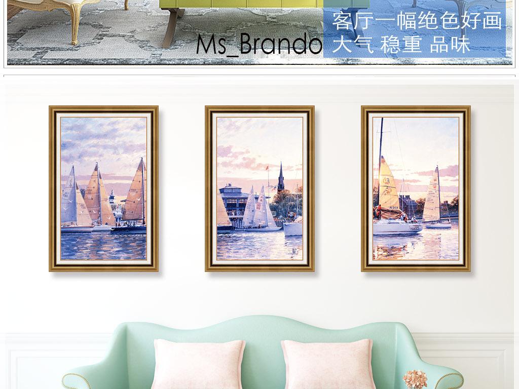 大海地中海帆船风景油画