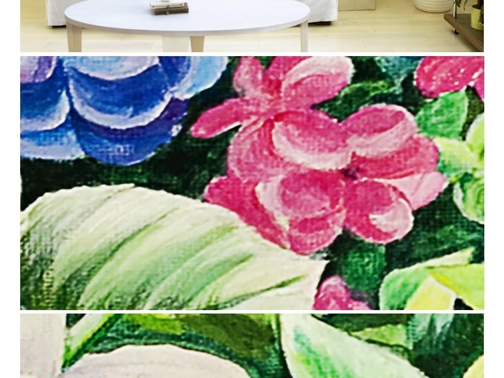 浪漫手绘植物园花园电视背景墙