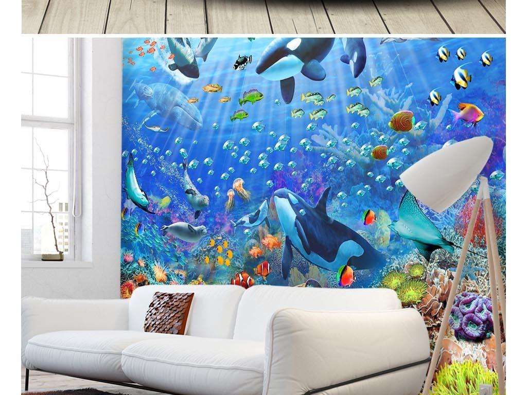 唯美手绘蓝色海洋海底世界鲸鱼电视背景墙