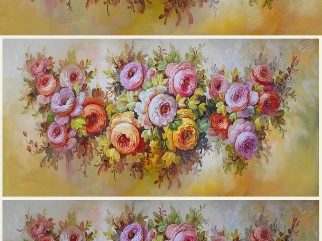 荣华富贵花巨幅高清手绘油画艺术壁画