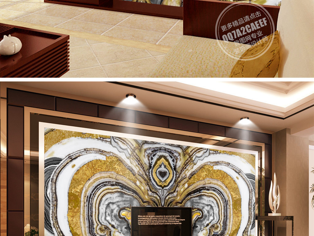 欧式金色蝴蝶精美大理石纹背景墙壁画
