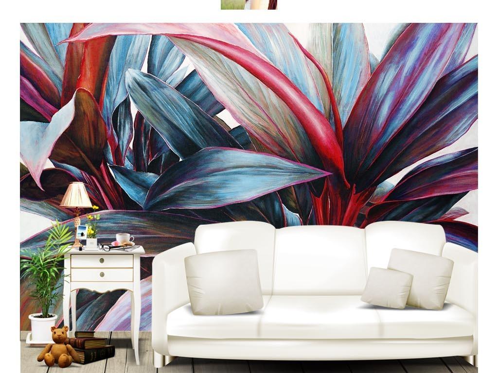 热带雨林手绘背景油画背景背景墙手绘背景墙油画手绘墙壁画室内手绘