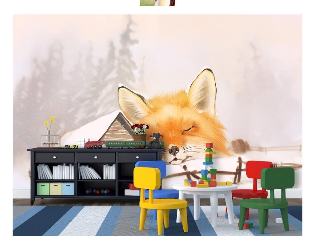 卡通手绘温馨雪地木屋睡觉狐狸儿童房背景墙
