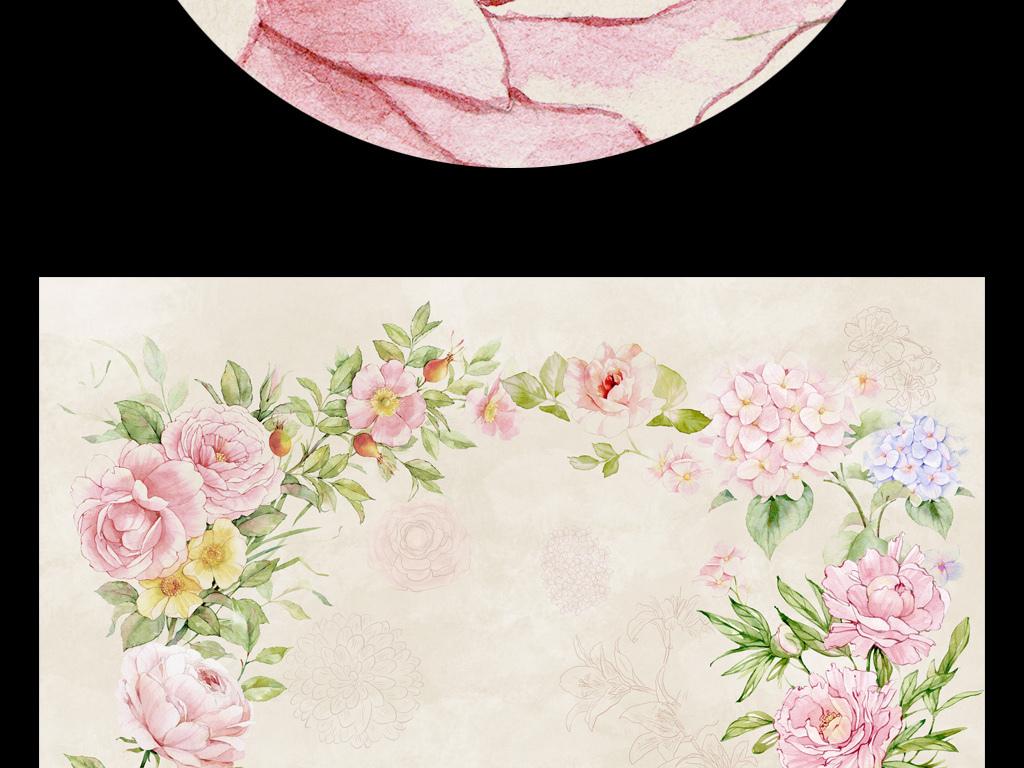 水彩手绘小清新森系装饰画线描花牡丹玫瑰