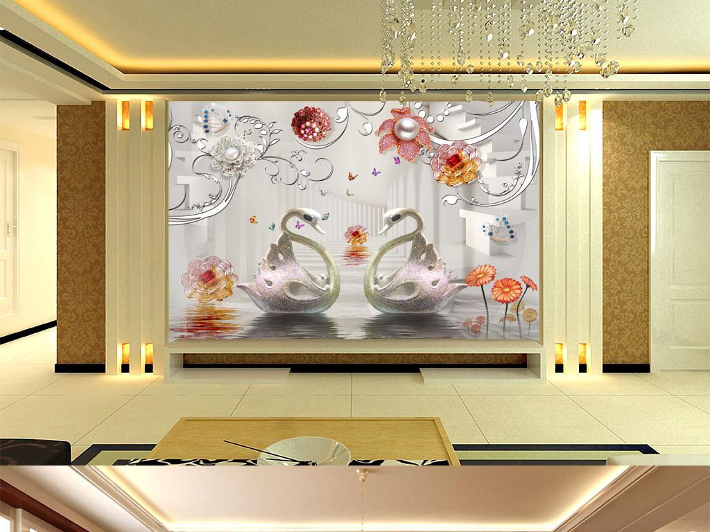 豪华客厅背景墙唯美简欧式室内设计装修效果图婚房