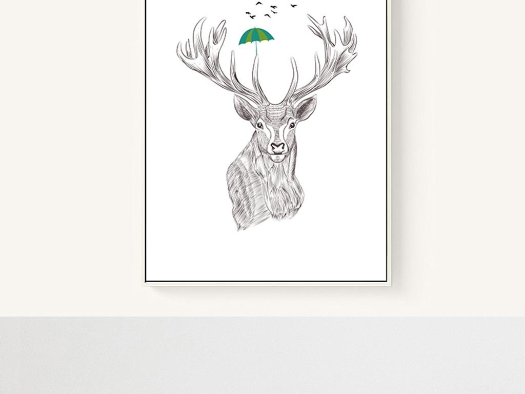 黑白色手绘麋鹿