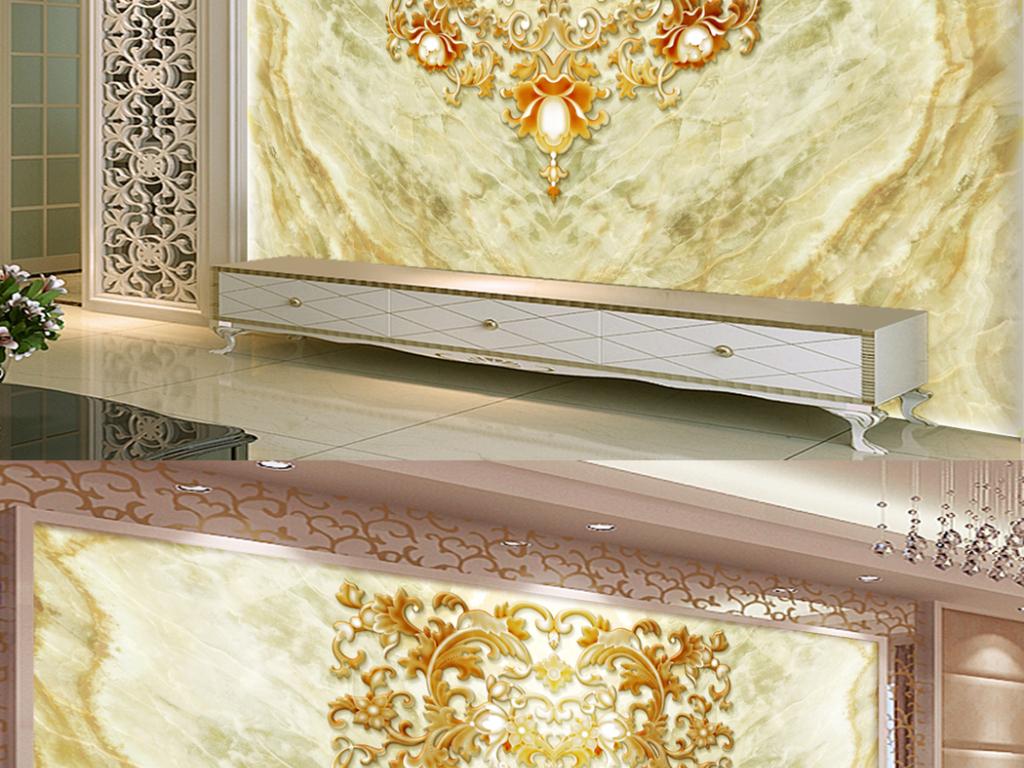 高清大理石欧式浮雕花纹电视背景墙