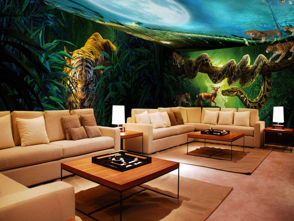 背景墙|装饰画 全屋背景墙 全屋背景墙 > 梦幻森林动物世界全屋壁画