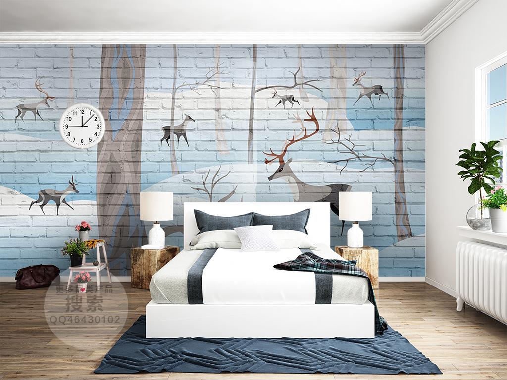 北欧麋鹿森林灰色砖墙背景墙