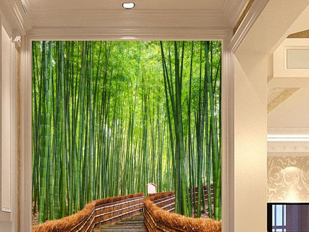 手绘水彩新中式竹子竹林竹叶清新小径清新竹林玄关背景玄关效果图玄关