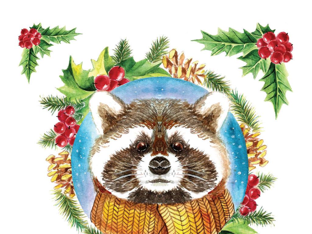 平面|广告设计 海报设计 国外创意海报 > 手绘唯美水彩浣熊元旦新年
