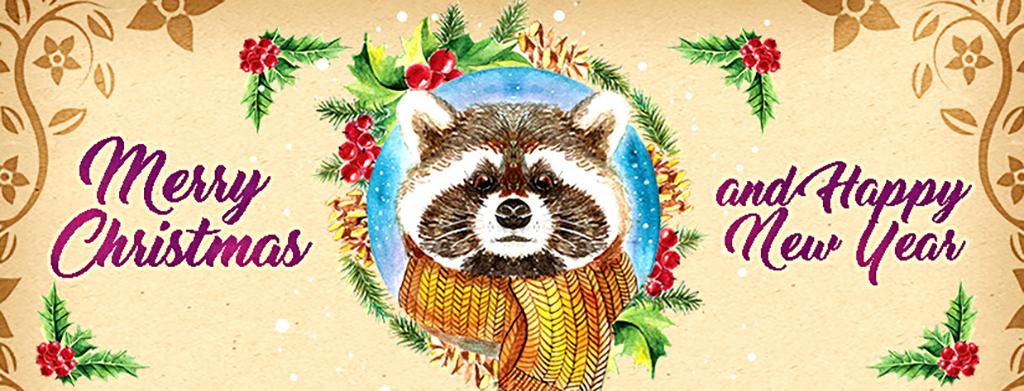 手绘唯美水彩浣熊元旦新年圣诞节创意海报