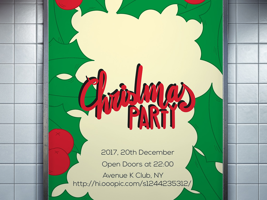 扁平文艺清新手绘矢量圣诞节贺卡海报展板