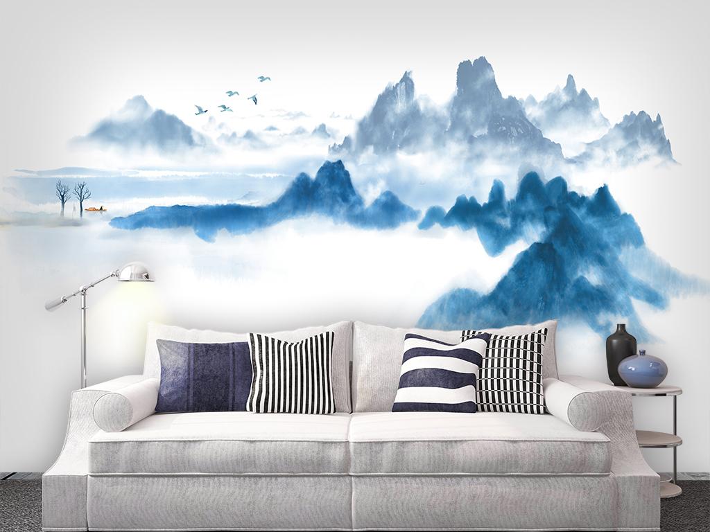 新中式禅意水墨山水中式背景墙 宽1024*768高