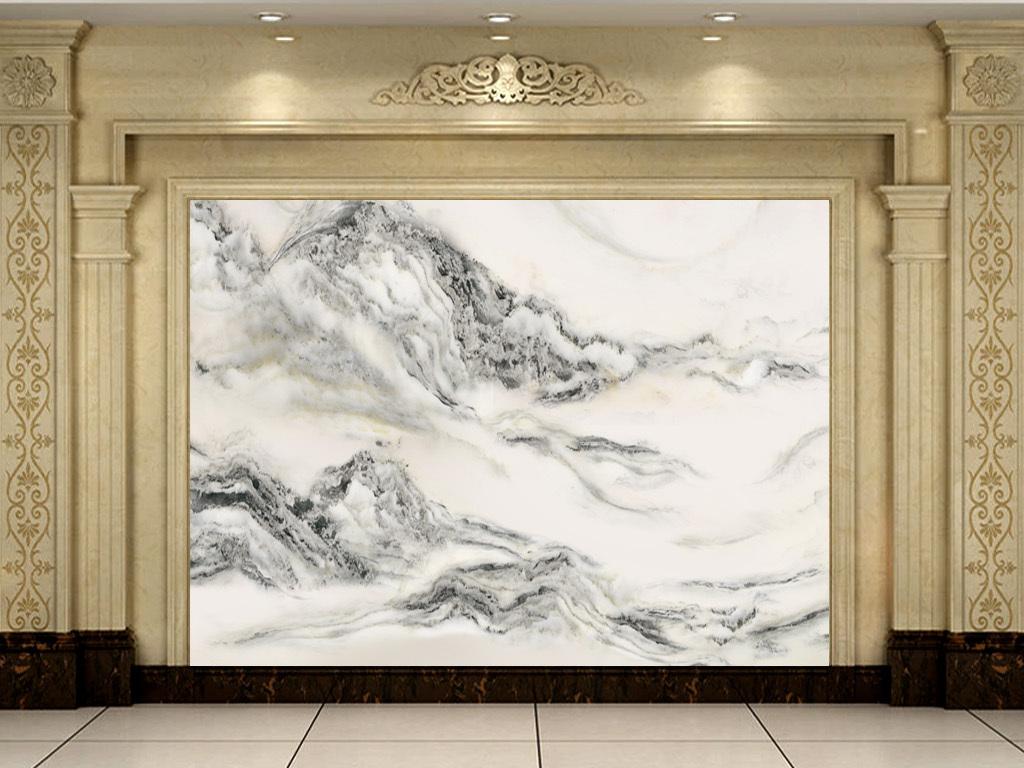 超高清水墨石山水画背景墙