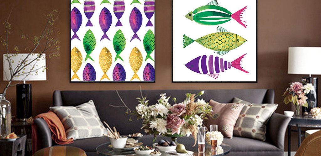 小清新手绘彩色可爱鱼群无框画下载