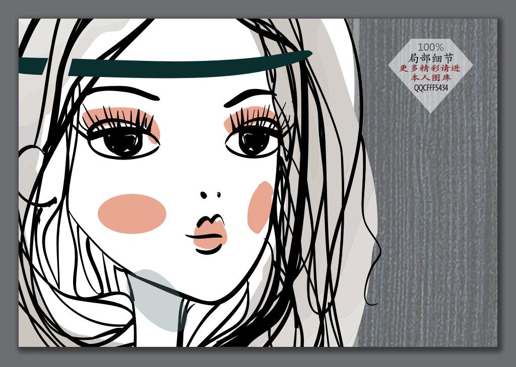 手绘木板时尚女孩背景墙(图片编号:15834951)