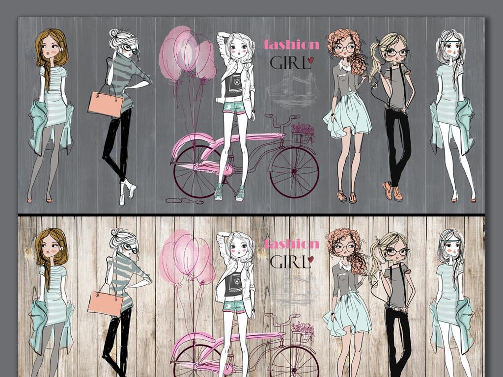 服装女孩彩铅手绘