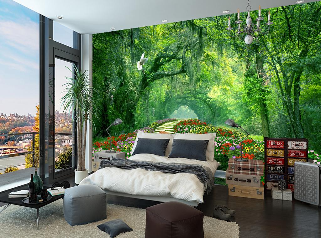 树林公园绿荫路3d风景背景墙