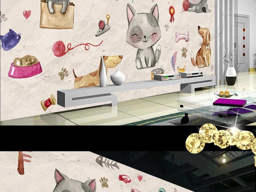 手绘可爱小猫小狗卡通小猫可爱小猫小黑猫小花猫可爱的小猫灰色小猫咪