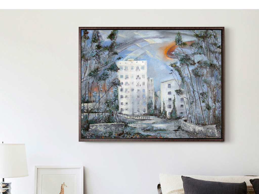 简约抽象城市房子建筑风景油画