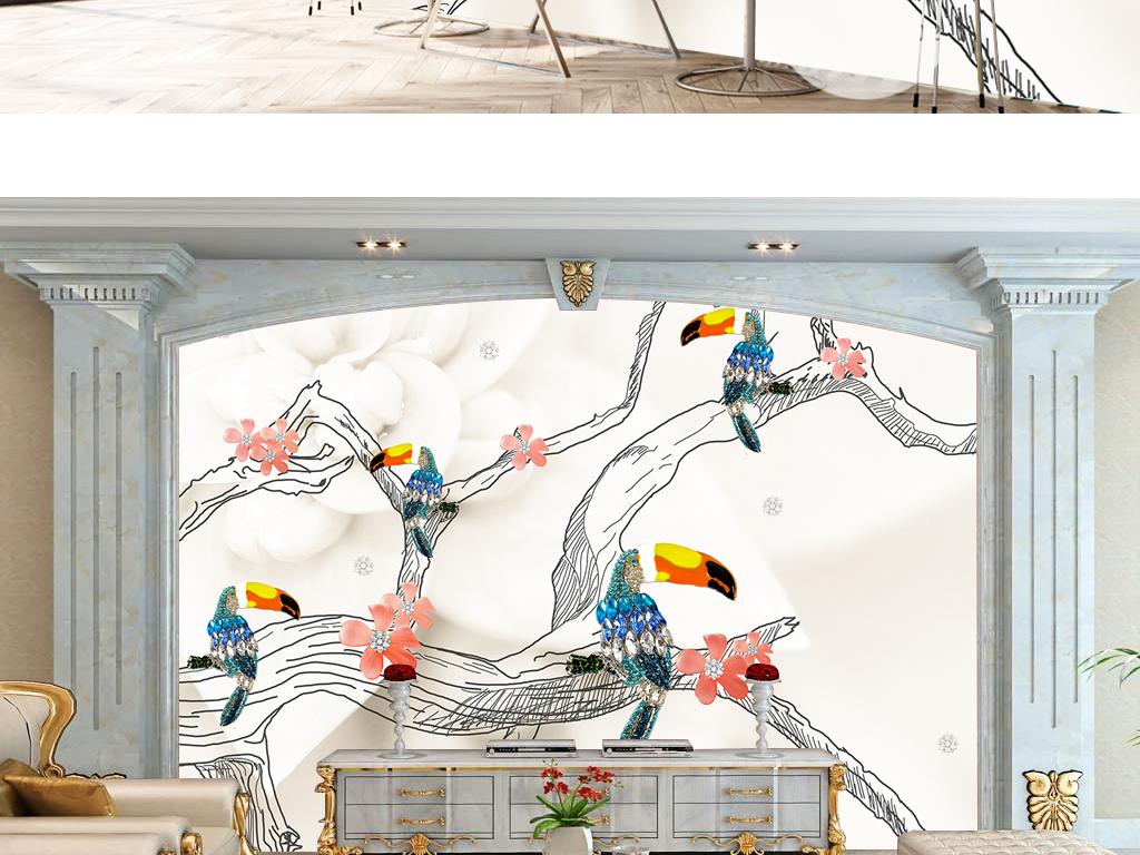 背景墙|装饰画 电视背景墙 珠宝背景墙活动 > 3d立体鹦鹉速写珠宝背景