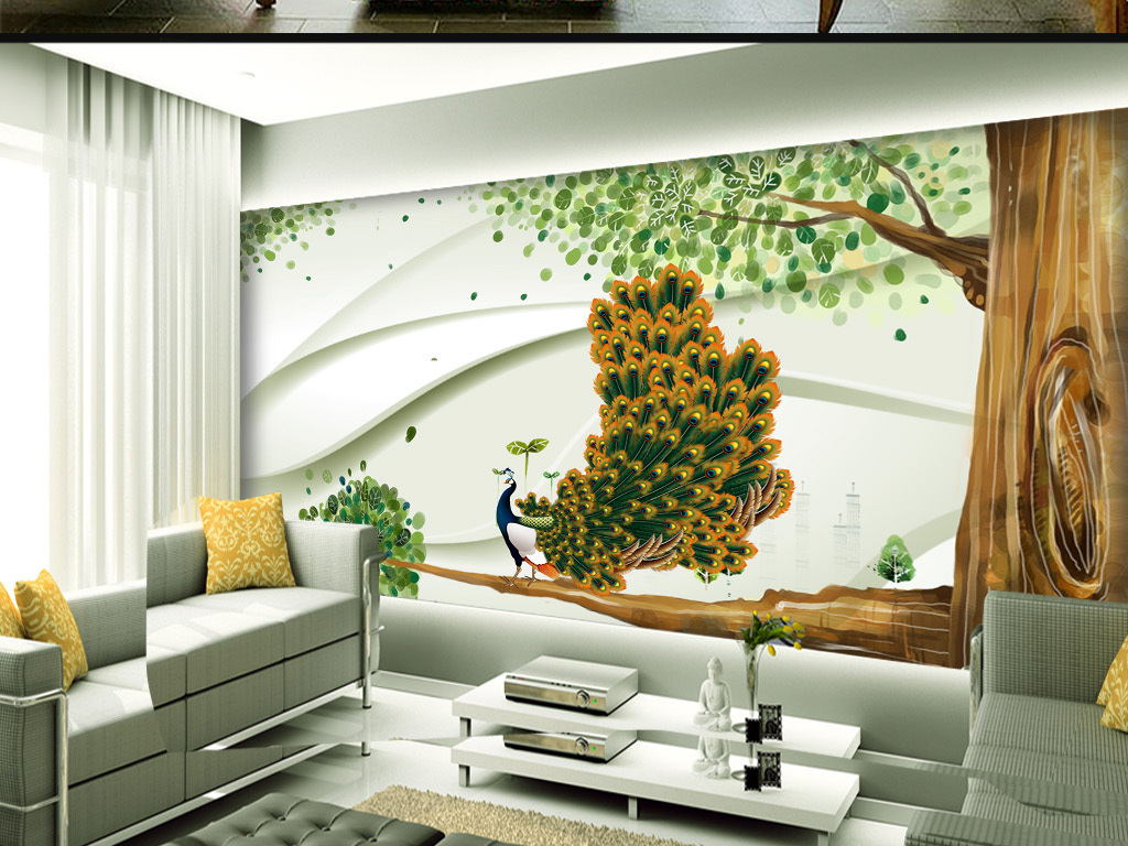 北欧淡雅孔雀树木背景墙北欧                                  手绘